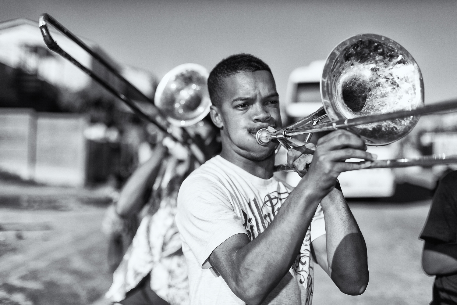 Trombonist in the Brass Marching Band